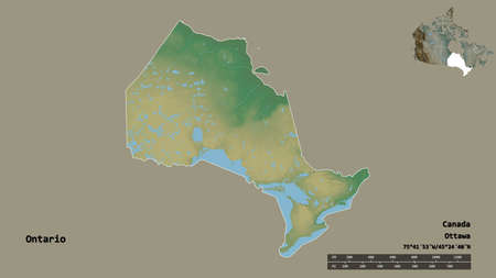 Shape of Ontario, province of Canada, with its capital isolated on solid background. Distance scale, region preview and labels. Topographic relief map. 3D rendering