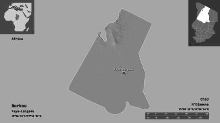Shape of Borkou, region of Chad, and its capital. Distance scale, previews and labels. Bilevel elevation map. 3D rendering Archivio Fotografico - 153776071