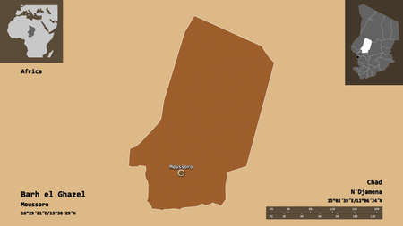 Shape of Barh el Ghazel, region of Chad, and its capital. Distance scale, previews and labels. Composition of patterned textures. 3D rendering Archivio Fotografico - 153776134