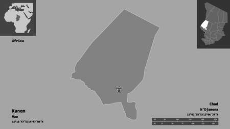 Shape of Kanem, region of Chad, and its capital. Distance scale, previews and labels. Bilevel elevation map. 3D rendering