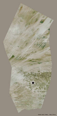 Shape of Ennedi Ouest, region of Chad, with its capital isolated on a solid color background. Satellite imagery. 3D rendering