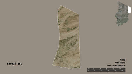 Shape of Ennedi Est, region of Chad, with its capital isolated on solid background. Distance scale, region preview and labels. Satellite imagery. 3D rendering Archivio Fotografico