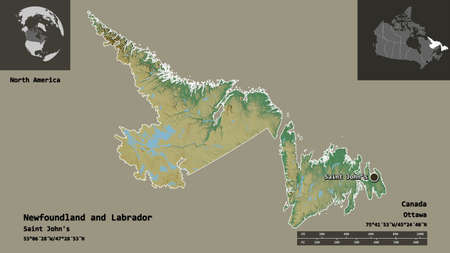 Shape of Newfoundland and Labrador, province of Canada, and its capital. Distance scale, previews and labels. Topographic relief map. 3D rendering
