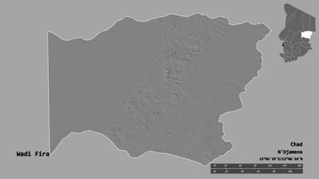 Shape of Wadi Fira, region of Chad, with its capital isolated on solid background. Distance scale, region preview and labels. Bilevel elevation map. 3D rendering Archivio Fotografico