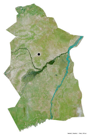 Shape of Mandoul, region of Chad, with its capital isolated on white background. Satellite imagery. 3D rendering