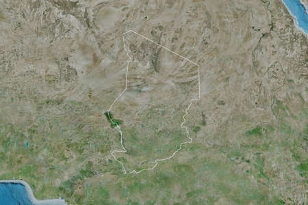 Extended area of outlined Chad. Satellite imagery. 3D rendering