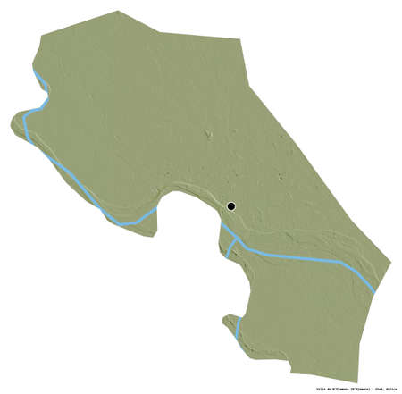 Shape of Ville de N'Djamena, region of Chad, with its capital isolated on white background. Topographic relief map. 3D rendering