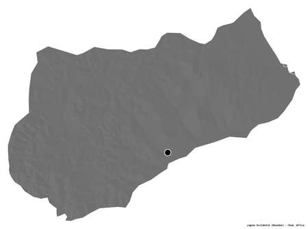 Shape of Logone Occidental, region of Chad, with its capital isolated on white background. Bilevel elevation map. 3D rendering