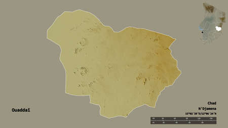 Shape of Ouaddaï, region of Chad, with its capital isolated on solid background. Distance scale, region preview and labels. Topographic relief map. 3D rendering