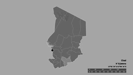 Desaturated shape of Chad with its capital, main regional division and the separated Moyen-Chari area. Labels. Bilevel elevation map. 3D rendering