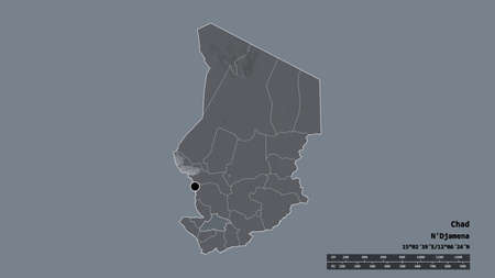 Desaturated shape of Chad with its capital, main regional division and the separated Tandjilé area. Labels. Colored elevation map. 3D rendering