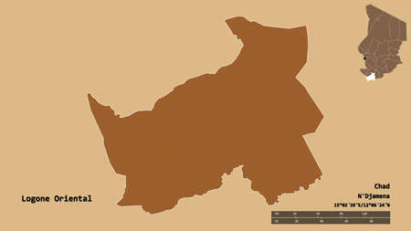 Shape of Logone Oriental, region of Chad, with its capital isolated on solid background. Distance scale, region preview and labels. Composition of patterned textures. 3D rendering Archivio Fotografico