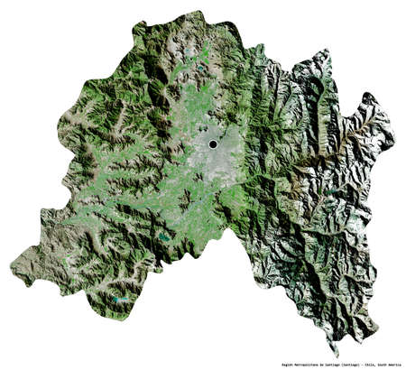 Shape of Región Metropolitana de Santiago, region of Chile, with its capital isolated on white background. Satellite imagery. 3D rendering