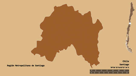 Shape of Región Metropolitana de Santiago, region of Chile, with its capital isolated on solid background. Distance scale, region preview and labels. Composition of patterned textures. 3D rendering