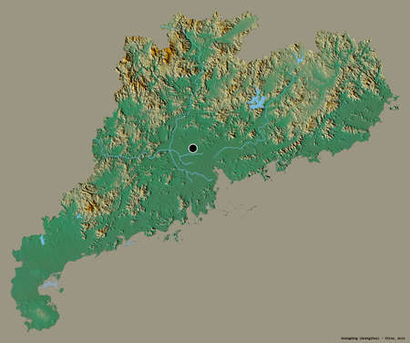 Shape of Guangdong, province of China, with its capital isolated on a solid color background. Topographic relief map. 3D rendering Imagens