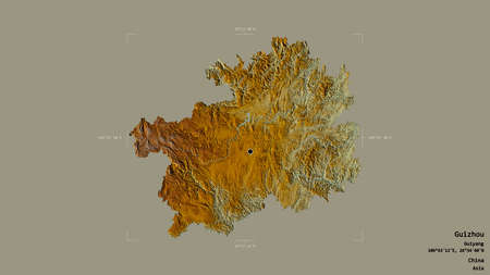 Area of Guizhou, province of China, isolated on a solid background in a georeferenced bounding box. Labels. Topographic relief map. 3D rendering