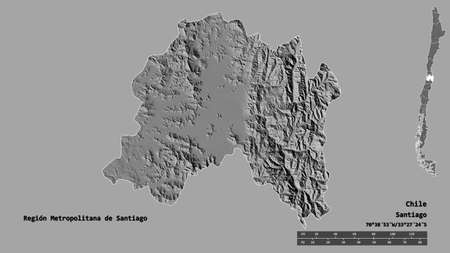 Shape of Región Metropolitana de Santiago, region of Chile, with its capital isolated on solid background. Distance scale, region preview and labels. Bilevel elevation map. 3D rendering