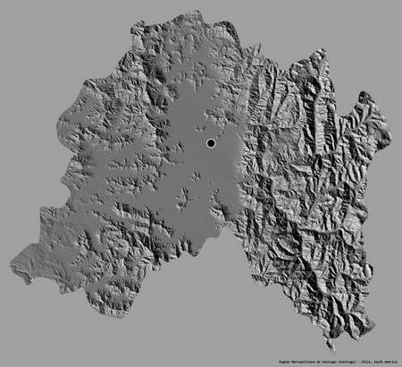 Shape of Región Metropolitana de Santiago, region of Chile, with its capital isolated on a solid color background. Bilevel elevation map. 3D rendering