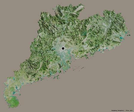 Shape of Guangdong, province of China, with its capital isolated on a solid color background. Satellite imagery. 3D rendering