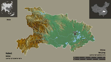 Shape of Hubei, province of China, and its capital. Distance scale, previews and labels. Topographic relief map. 3D rendering