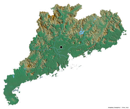 Shape of Guangdong, province of China, with its capital isolated on white background. Topographic relief map. 3D rendering