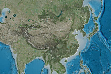 Extended area of outlined China. Satellite imagery. 3D rendering