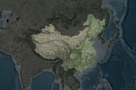 Shape of China separated by the desaturation of neighboring areas. Satellite imagery. 3D rendering