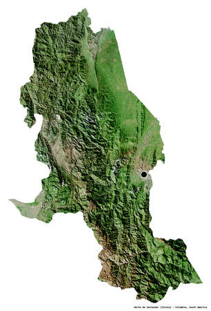Shape of Norte de Santander, department of Colombia, with its capital isolated on white background. Satellite imagery. 3D rendering Foto de archivo