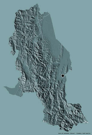 Shape of Norte de Santander, department of Colombia, with its capital isolated on a solid color background. Colored elevation map. 3D rendering Standard-Bild