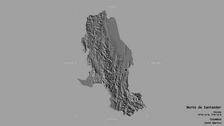 Area of Norte de Santander, department of Colombia, isolated on a solid background in a georeferenced bounding box. Labels. Bilevel elevation map. 3D rendering Foto de archivo