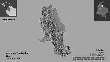 Shape of Norte de Santander, department of Colombia, and its capital. Distance scale, previews and labels. Bilevel elevation map. 3D rendering