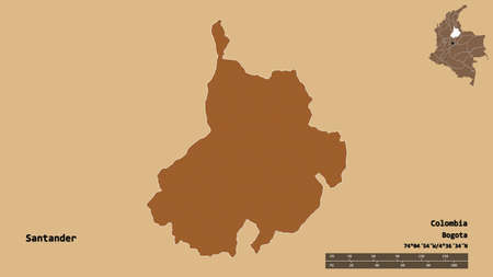 Shape of Santander, department of Colombia, with its capital isolated on solid background. Distance scale, region preview and labels. Composition of patterned textures. 3D rendering Standard-Bild