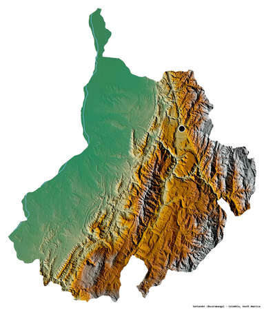 Shape of Santander, department of Colombia, with its capital isolated on white background. Topographic relief map. 3D rendering