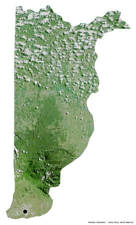 Shape of Heredia, province of Costa Rica, with its capital isolated on white background. Satellite imagery. 3D rendering