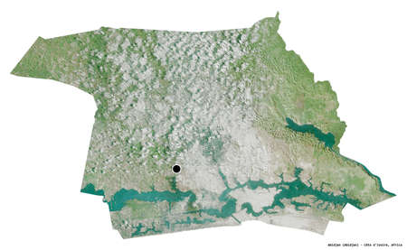 Shape of Abidjan, autonomous district of Côte d'Ivoire, with its capital isolated on white background. Satellite imagery. 3D rendering