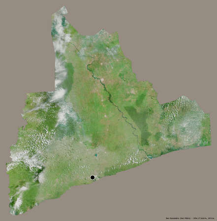 Shape of Bas-Sassandra, district of Côte d'Ivoire, with its capital isolated on a solid color background. Satellite imagery. 3D rendering Imagens