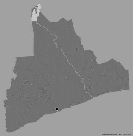 Shape of Bas-Sassandra, district of Côte d'Ivoire, with its capital isolated on a solid color background. Bilevel elevation map. 3D rendering Imagens