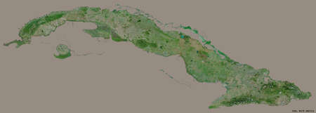 Shape of Cuba with its capital isolated on a solid color background. Satellite imagery. 3D rendering