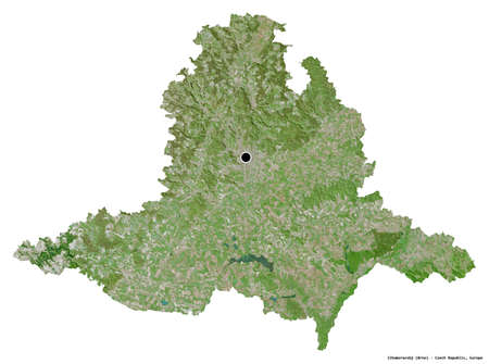 Shape of Jihomoravský, region of Czech Republic, with its capital isolated on white background. Satellite imagery. 3D rendering Stock Photo