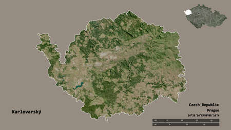 Shape of Karlovarský, region of Czech Republic, with its capital isolated on solid background. Distance scale, region preview and labels. Satellite imagery. 3D rendering