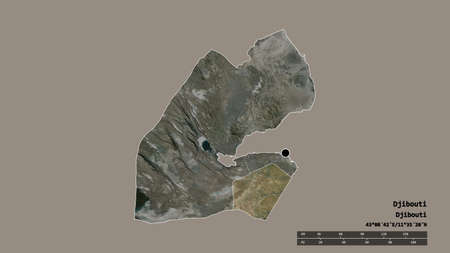 Desaturated shape of Djibouti with its capital, main regional division and the separated Ali Sabieh area. Labels. Satellite imagery. 3D rendering
