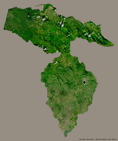 Shape of Hato Mayor, province of Dominican Republic, with its capital isolated on a solid color background. Satellite imagery. 3D rendering Stock Photo