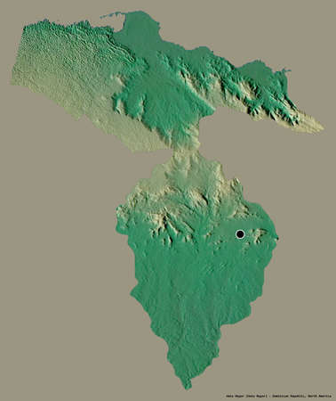 Shape of Hato Mayor, province of Dominican Republic, with its capital isolated on a solid color background. Topographic relief map. 3D rendering Stock Photo