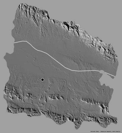 Shape of Valverde, province of Dominican Republic, with its capital isolated on a solid color background. Bilevel elevation map. 3D rendering Stock Photo