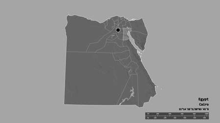 Desaturated shape of Egypt with its capital, main regional division and the separated As Suways area. Labels. Bilevel elevation map. 3D rendering