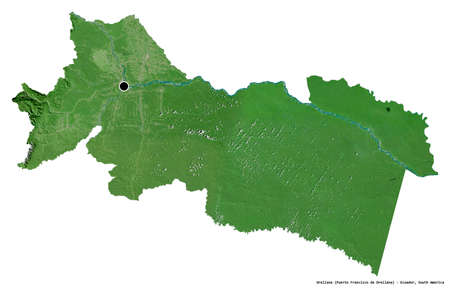 Shape of Orellana, province of Ecuador, with its capital isolated on white background. Satellite imagery. 3D rendering