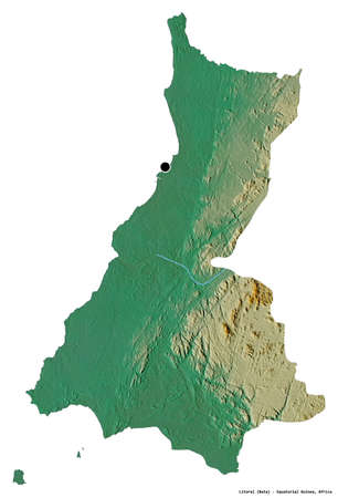 Shape of Litoral, province of Equatorial Guinea, with its capital isolated on white background. Topographic relief map. 3D rendering