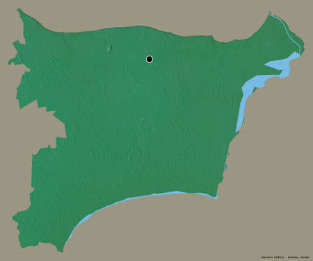 Shape of Ida-Viru, county of Estonia, with its capital isolated on a solid color background. Topographic relief map. 3D rendering