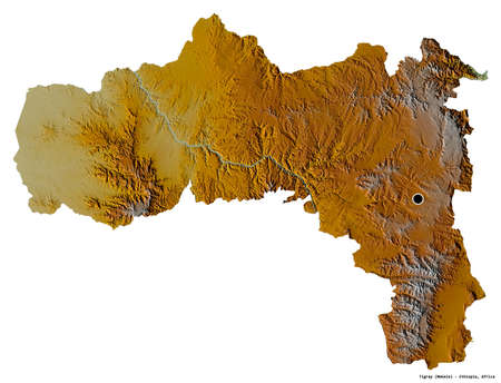 Shape of Tigray, state of Ethiopia, with its capital isolated on white background. Topographic relief map. 3D rendering