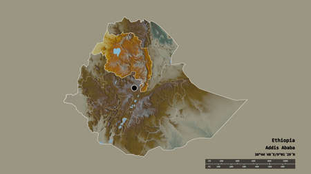 Desaturated shape of Ethiopia with its capital, main regional division and the separated Amhara area. Labels. Topographic relief map. 3D rendering